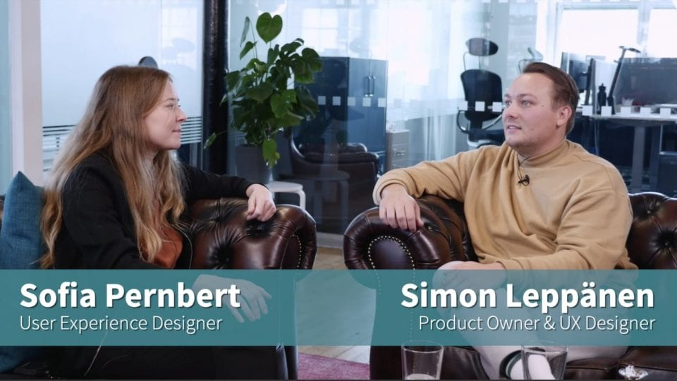 Simon Leppänen and Sofia Pernbert, UX designers at Visiba Care